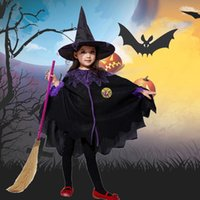 Clothing Sets Baby Girls Halloween Party Costume Cosplay Cape Cloak+Witch Hat Outfits Casual Boys Children Suits