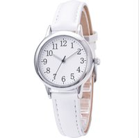 Wholesale Clear Numbers Fine Leather Strap Quartz Womens Watches Simple Elegant Students Watch 31MM Dial Wristwatches Ladies Gift