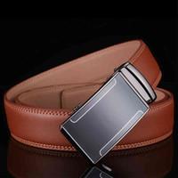 Pullesxale Cinture in pelle Uomo Designer di alta qualità Designer Mens Luxury Fibbia Automatica Brown Business Casual Wist Belt B3