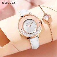 Sollen Solon goddess quicksand elements ins wind inlaid diamond fashion belt quartz lady watch sl423