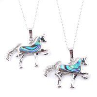 Wojiier 6pcs / lot Abalone Shell colgantes adorable animal forma de caballo péndulo colgante para collar moda joyería popular DN3650