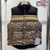 2021 Мужчины Жилеты Классический Письмо Леопардовый Печати Паркуда Мода Утолщение Пару Куртки Осень Зимнее Наружное пальто можно носить с обеих сторон