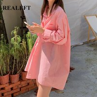Women's Blouses & Shirts REALEFT 2021 One Pocket Turn-down Collar Oversize Long Blouse Casual Loose Female Tops Pink Workwear