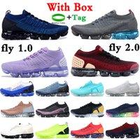 Con caja de caja 1 2.0 zapatillas de correr fresco gris equipo rojo triple negro blanco gimnasio azul oxígeno púrpura hombres zapatillas de deporte