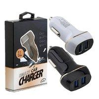 Adaptador de automóviles Dual USB Ports Auto Power Adaptter 3.1A Adaptador para Samsung S6 S7 Edge S8 Teléfono Android GPS MP3 con caja