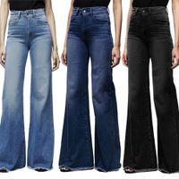 Mode merk elastische jeans vrouwen knop gewassen denim broek femme zakbroek boot gesneden rechte lijn flare jeans muje