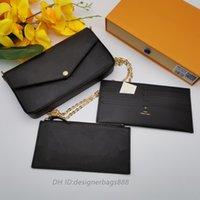 BOX Pochette Felicie 여성 Luxurys 디자이너 가방과 함께 M61276 진짜 가죽 여성 지갑 키 카드 지갑 핸드백 메신저 크로스 바디 어깨 가방 지갑 totes
