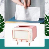 Tissue Boxes & Napkins Box Creative Cute TV Shaped Desktop Paper Napkin Storage Container Mobile Phone Holder Plastic Case For Home