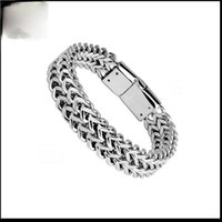 Punk Cuba Chain Stainless Steel Bracelet Domineering Men's Silver Plated Trend Motorcycle Party Jewelry Link,