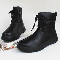 Womens Boots Winter Schneeschuhe 100% Echtes Leder Fleece Frau Knöchelstiefel Lace Up Platform Rutschfeste Weibliche Schuhe Q89W #