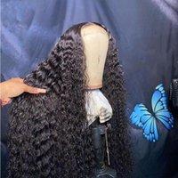Плотность странного вьющиеся вьющиеся натуральные струи черный цвет Усовершенствованный синтетический шнурок передний парик для женщин с детским жаром волос Ressistance парики