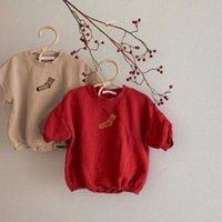 Rompers Koodykids Baby Boys Girls Autumn Khaki Bodysuits With Velvet Red Casual Toddler Leggings Tights