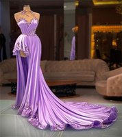 Designer Lilac Prom Dresses Sexy A Line Beading Formal Evening Gowns High Neck Gorgeous Satin Appliqued Long Party Dress Robe de mariée