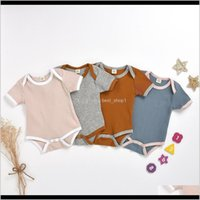Ins Designer Infant Boys Girls Jumpsuits Blank Knitted Bib Oneck Short Sleeve Summer Born Climb Clothes Rompers Baby Rbwoa Dmneb