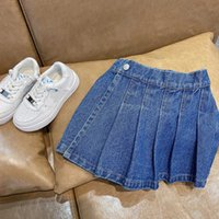 Printemps été filles denim shorts enfants faux jupe enfants vêtements de mode style plissé