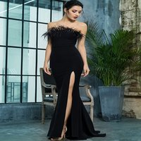 Chic Black Strapless Evening Dress With Feather Sexy High Slit Dance Prom Formal Party Dresses 2021 Elegant Women Vestidos Noite Robes De Soirée