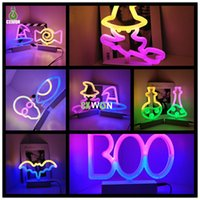 Halloween Decoration LED Neon Sign Light Indoor Night Table Lamp with Battery or USB Powered for Party Home Room