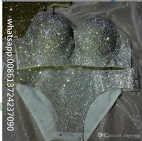 (Bra +Short )Red Silver Golden Rock Crystal Performance Of Diamond Bikinis Stage Rhinestone Set Underwear Dance Costume Nightclub