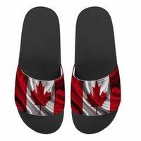 男性女性カスタムデザインスリッパカナダの国旗プリント夏のファッションスライドサンダル屋外の滑り止めビーチシューズプラットフォームフリップフロップJ69L#