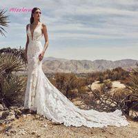 Vestido Silky Noiva Organza Luxe Kant Mermaid Wedding 2021 New Bride Dress Sexy V-neck Backless Robe De Mariee