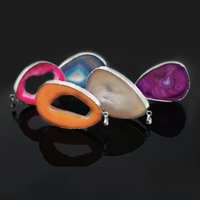 5Pcs Mixed Agate Stone Pendants Natural Gemstone Quartz Pendant Silver Plated for Necklace Women Jewelry Gifts