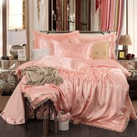 Bedding Sets 2021 Lace And Satin Jacquard Luxury Set Soft Bedclothes Duvet Quilt Cover Bed Linen Sheet Pieces 4