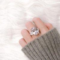 Nuova scintillante gioielli vintage coppia anelli 925 sterling argento grande taglio ovale diamante donne anello da sposa set regalo