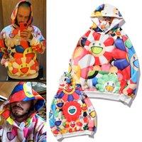 Murakami Uzun 20ss X J Balvin Co Markalı FW20 Sonbahar ve Kış Güneş Çiçek Hoodie Erkekler ve Kadınlar için