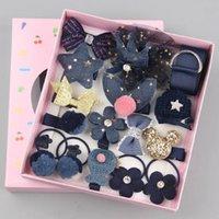 18 piece box hair clip set cute hair accessories girl headwear bow flower animal hairpins hair band cartoon elastic headdress gift