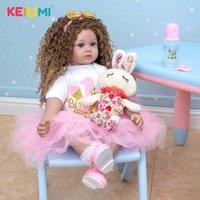 Nuovo arriva 60 cm Dolls Reborn Dolls Menina Capelli lunghi Lifelike Soft Silicone Cloth Body Neonato Boneca Giocattoli Bambini Bambini Compleanno Regalo di Natale Q0910
