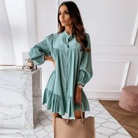 Women Vintage Ruffled Front Button A-line Dress Long Sleeve Stand Collar Solid Elegant Casual Mini Autumn 210915