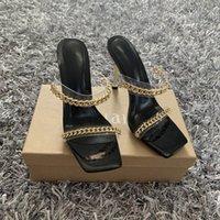 Yaz Kadın Sandalet Kare Toe Bayanlar Topuk Katır Temizle PVC Şeffaf Yüksek Topuklu Terlik Kadın Moda Zincir Ayakkabı Kadın RTHRY5T6J56K