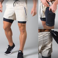 Running Shorts Gym Training Men's Fitness Double-layer Fake Two-piece Tight Elastic Muscle Exercise Brothers Sports Five-point Pants