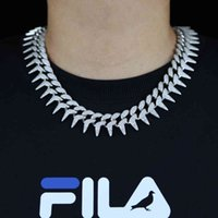 Mens Heavy Cuban Chain Necklace Hip Hop 23mm Rivet Spiked Shape Iced Out 2 Rows CZ Cubic Zirconia Chunky Box Clasp Chain 18 20 X0509