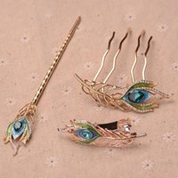 Hair Clips & Barrettes Rhinestone Crystal Headpieces Feather Leaf Metal Combs Jewelry Accessorie For Women Tiara Fashion Accessories Hairpin