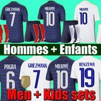 태국 2021 MBappe Maillots 드 축구 22 축구 유니폼 Griezmann Pogba Maillot 드 발 Kante Benzema Pavard Kit Top Shirt Hommes Enfants Men + Kids