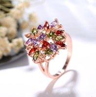 Elegant Gemstone Multicolour Rose Gold Flower Ring For Women Charm Finger Ring Fine Jewelry For Female Wedding Party Bijoux Ring ps1207