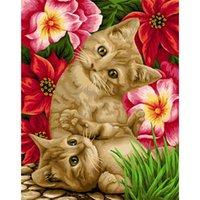 Dipinti Amtmbs Animali Naughty And Carino Cat Pittura ad olio per numeri Acrilico Disegno su tela Della Parete della casa Decor Unico Bambino regalo