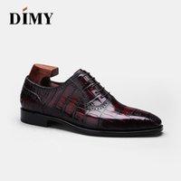 Обувь платье Dimy 2021 изготовленные вручную изготовленные на заказ Goodyear High-End Crocodile мужская формальная деловая галстука с диким заостренным Оксфордом