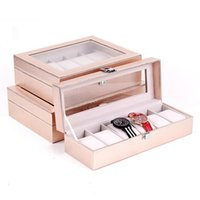 Watch Boxes & Cases 6 10 12 Grids Box Organizer Case Display For Men Women Binding Paper With Clear Glass Top Vintage Style