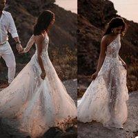 Beach A Line Wedding Dress Illusion One Shoulder Lace Appliques Bride Dresses Long Sleeve Backless Bridal Gowns robes de mariée
