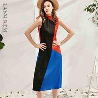Плиссированное платье без рукавов для женщин одна кнопка средней длины контрастный цвет тонкий темперамент повседневные летние платья 2D3937 210526