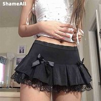 Black Mall Goth Aesthetic Pleated Skirts cosplay Women Lace Trim Low Waist EGirl Mini Skirt Steampunk Dark Academia Y2K Dance 210324