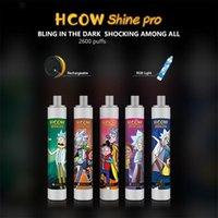 HCOW SHINE PRO Disposable E Cigarette Device 1100mAh Rechargeable Batteries With Colorful Led Light 6ml Prefilled Cartridge 2600 Puffs Vape Pen Kit