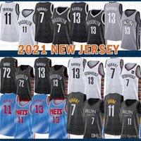 2021 Nova Jersey Basquete BrooklynNet Mens Kevin James 13 Harden 7 Durant Kyrie 72 Biggie 11 Irving Vinho Vermelho