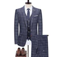 Men's Suits & Blazers Jacket Pants Vest 2021 Male Singer Men Suit Spring Autumn Casual Slim Fit Business Groom Party Wedding Plaid Dress Coa