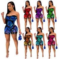 Schmetterling Druck Jumpsuits Strampler Bodycon Einteiliges Gesamt-Sommer-Outfit für Frauen aus der Schulter trägerlos Backless Skinny Beach Playsuit