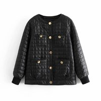 Vintage Woman Black Loose Plaid O-Neck Leather Jacket Spring-Autumn Fashion Ladies Oversized PU Outerwear Girls Cool Coats Women's Jackets