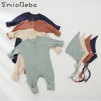 Jumpsuits Children Solid Japan Boys Romper With Hats Korean Baby Home Pajamas Bag Fart Clothes Spring Girl One-piece Linen Bodysuits 0-24M
