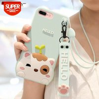 Loft is suitable for iPhone 7 mobile phone case 8 female models iphone7 silicone lanyard drop resistance 7p cartoon cute 8p #Dg4h